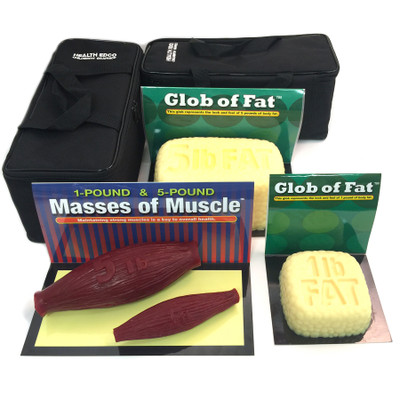 Globs of Fat and Masses of Muscle Set 1 lb and 5 lb for health education by Health Edco, models with realistic feel, 26040