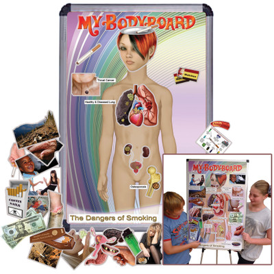 My BodyBoard Dangers of Smoking Set, interactive magnetic display with body background and magnets depicting negative smoking effects, Health Edco, 30286