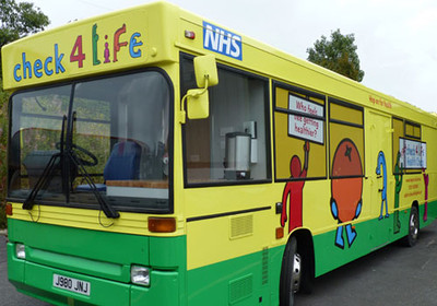 Health Bus, yellow green painted bus with NHS logo on side check 4 life slogan on front, Health Edco, 37510