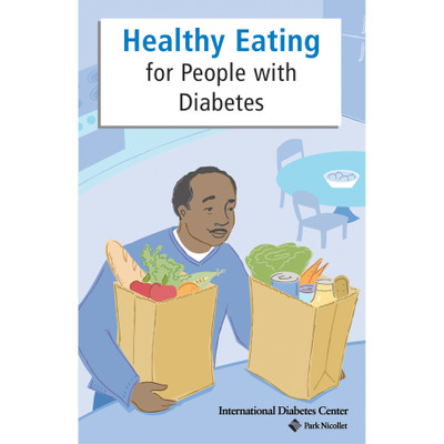 Healthy Eating For People With Diabetes Booklet cover, black man carrying two bags of groceries, Health Edco, 42026