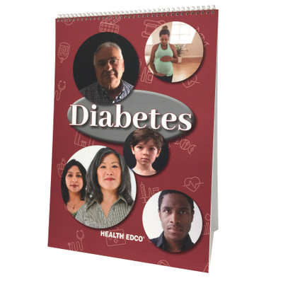 Diabetes Flip Chart by Health Edco for health education, flip chart cover showing diverse diabetics of all ages, 43130