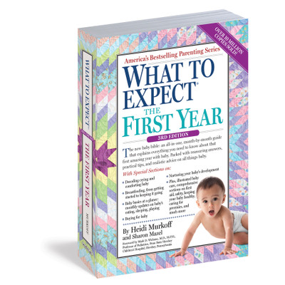 What to Expect the First Year Book 3rd edition cover, quilt background young Asian baby, Childbirth Graphics, 50901