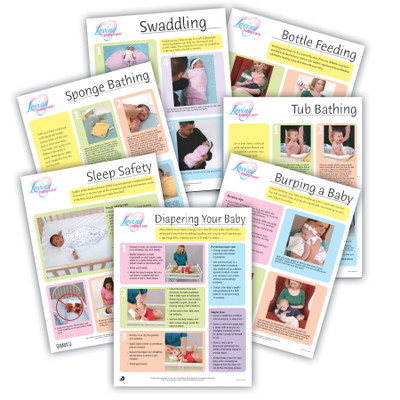 Loving Baby Care Tear Pad Set (7), set of full color photo how-to tear pads for new parents, Childbirth Graphics, 52079