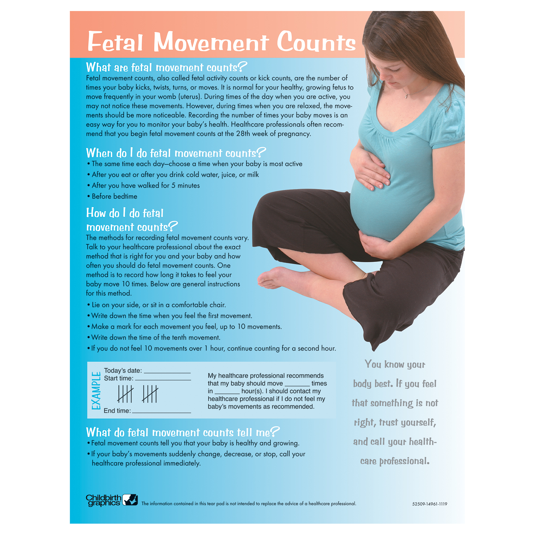 Fetal Movement Counts Tear Pad for pregnancy education from Childbirth Graphics with instructions to count foetal kicks, 52509
