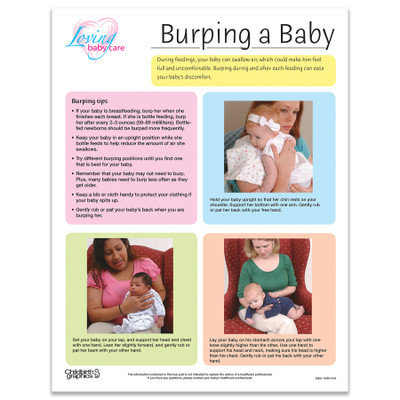 Burping a baby full-colour tear pad, colour blocks list tips and positions for burping, Childbirth Graphics 52621