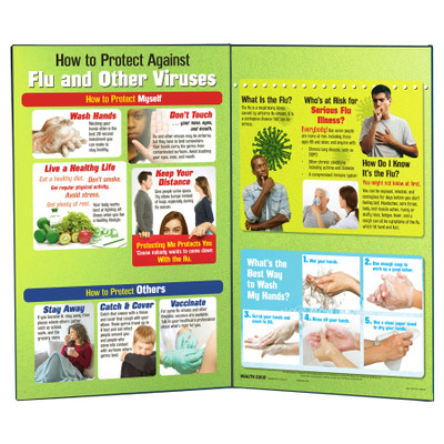 How to Protect Against Flu and Other Viruses Folding Display for health education by Health Edco, two-panels of tips to viral illness like COVID-19, 78869